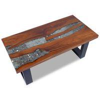 vidaXL Kavos staliukas, tikmedis ir derva, 100x50 cm