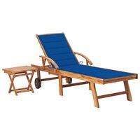 vidaXL Saulės gultas su staliuku ir čiužinuku, tikmedžio masyvas