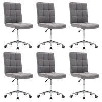vidaXL Valgomojo kėdės, 6vnt., šviesiai pilkos, audinys (3x283579)