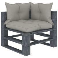 vidaXL Kampinė sodo sofa iš palečių su taupe pagalvėmis, mediena