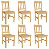 vidaXL Valgomojo kėdės, 6vnt., pušies mediena