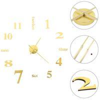 vidaXL Sieninis 3D laikrodis, auksinis, 100cm, modernaus dizaino, XXL