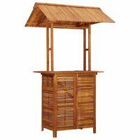 vidaXL Lauko baro stalas su stogeliu, 120x106x217cm, akacijos masyvas