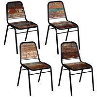 vidaXL Valgomojo kėdės, 4 vnt., perdirbtos medienos masyvas