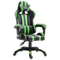 vidaXL Žaidimų kėdė, žalios spalvos, dirbtinė oda
