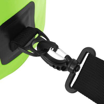 vidaXL Vandeniui atsparus krepšys su užtrauktuku, žalias, PVC, 20l
