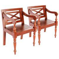 vidaXL Batavia kėdės, 2vnt., tamsiai ruda, raudonmedžio masyvas