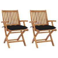vidaXL Sodo kėdės su juodomis pagalvėlėmis, 2vnt., tikmedžio masyvas
