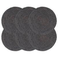 vidaXL Stalo kilimėliai, 6 vnt., tamsiai pilki, 38cm, džiutas