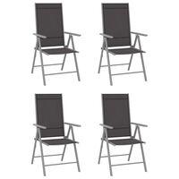 vidaXL Sulankstomos sodo kėdės, 4vnt., juodos spalvos, tekstilenas