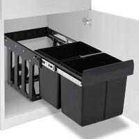 vidaXL Ištraukiama virtuvės spintelės šiukšliadėžė rūšiavimui, 36l