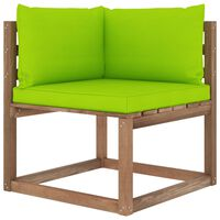 vidaXL Kampinė sodo sofa iš palečių su šviesiai žaliomis pagalvėlėmis