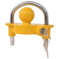 vidaXL Priekabos spyna su 2 raktais, plienas ir aliuminis, geltonas