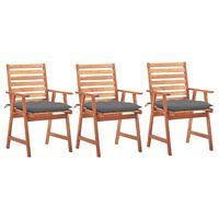 vidaXL Lauko valgomojo kėdės su pagalvėlėmis, 3vnt., akacijos masyvas