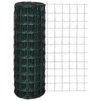 vidaXL Euro tvoros komplektas, žalias, 25x1m, plienas