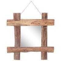 vidaXL Veidrodis iš rąstų, natūralus, 50x50cm, medienos masyvas