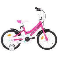 vidaXL Vaikiškas dviratis, juodos ir rožinės spalvos, 16 colių ratai