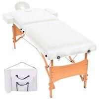 vidaXL 2 zonų sulankstomas masažinis stalas, 10 cm storio, baltas