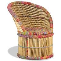 vidaXL Kėdė su megztomis detalėmis, bambukas