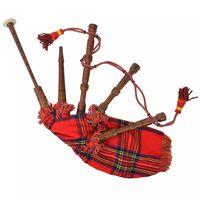 vidaXL Vaikiškas škotiškas dūdmaišis, raudonas ir mėlyn. lang. audinys