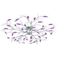 vidaXL Lubinis šviestuvas su akrilinio kristalo lapeliais, violetinis