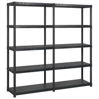 vidaXL Lentyna daiktams, 5 aukštų, juoda, 170x40x185cm, plastikas