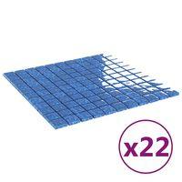 vidaXL Mozaikinės plytelės, 22vnt., mėlynos, 30x30cm, stiklas, lipnios