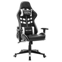 vidaXL Žaidimų kėdė, juodos ir baltos spalvos, dirbtinė oda