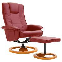 vidaXL TV krėslas su pakoja, raud. vyn. sp., dirbtinė oda, pasukamas