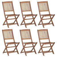 vidaXL Sulankstomos sodo kėdės, 6vnt., akacijos medienos masyvas