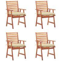 vidaXL Lauko valgomojo kėdės su pagalvėlėmis, 4vnt., akacijos masyvas