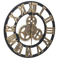 vidaXL Sieninis laikrodis, auksinės ir juodos spalvos, 45cm, MDF