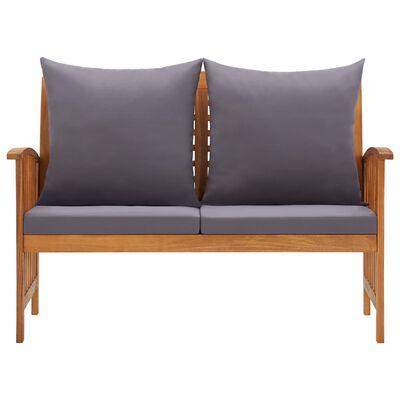 vidaXL Sodo suoliukas su pagalvėmis, 119cm, akacijos medienos masyvas