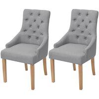 vidaXL Valgomojo kėdės, 2vnt., šviesiai pilkos, audinys
