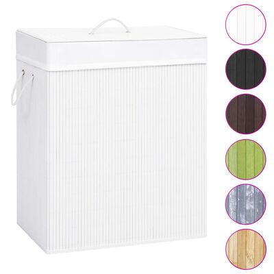 vidaXL Skalbinių krepšys, baltos spalvos, bambukas, 100l
