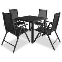 vidaXL Lauko valgomojo baldų komplektas, 9 d., juodas, aluminis, WPC