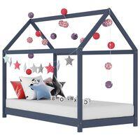 vidaXL Vaikiškos lovos rėmas, pilkas, 80x160cm, pušies masyvas