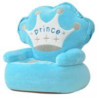 vidaXL Pliušinė vaikiška kėdė Prince, mėlyna