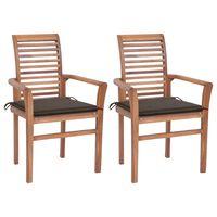 vidaXL Valgomojo kėdės su taupe spalvos pagalvėlėmis, 2vnt., tikmedis