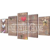 "Fotopaveikslas su Užrašu ""Home Sweet Home"" ant Drobės 100 x 50 cm"
