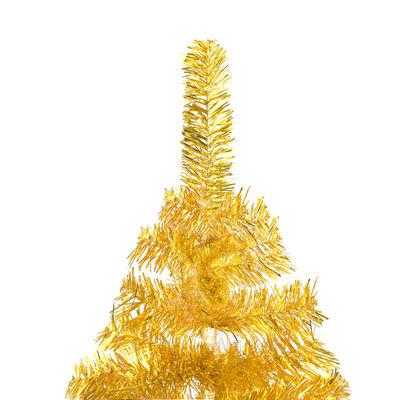 vidaXL Dirbtinė Kalėdų eglutė su stovu, auksinės spalvos, 180cm, PET