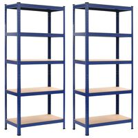 vidaXL Lentynos, 2vnt., mėlynos, 80x40x180cm, plienas ir MDF