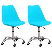 vidaXL Biuro kėdės, 2vnt., mėlynos spalvos, dirbtinė oda