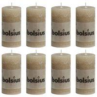 Bolsius Žvakės, 8vnt., pastelinės smėlio, 100x50mm, cilindro formos