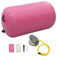 vidaXL Gimnastikos ritinys su pompa, rožinis, 100x60cm, PVC
