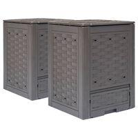 vidaXL Sodo komposto dėžės, 2vnt., rudos spalvos, 60x60x83cm, 600l