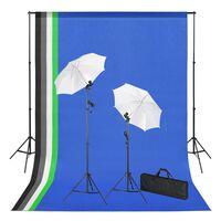 vidaXL Fotostudijos komplektas su fonais, šviestuvais ir skėčiais