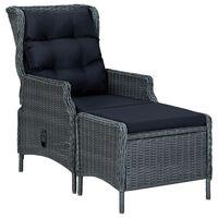 vidaXL Atlošiama sodo kėdė su pakoja, tamsiai pilka, poliratanas