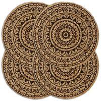 vidaXL Stalo kilimėliai, 4 vnt., tamsiai rudi, 38cm, džiutas