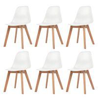 vidaXL Valgomojo kėdės, 6vnt., baltos spalvos, plastikas